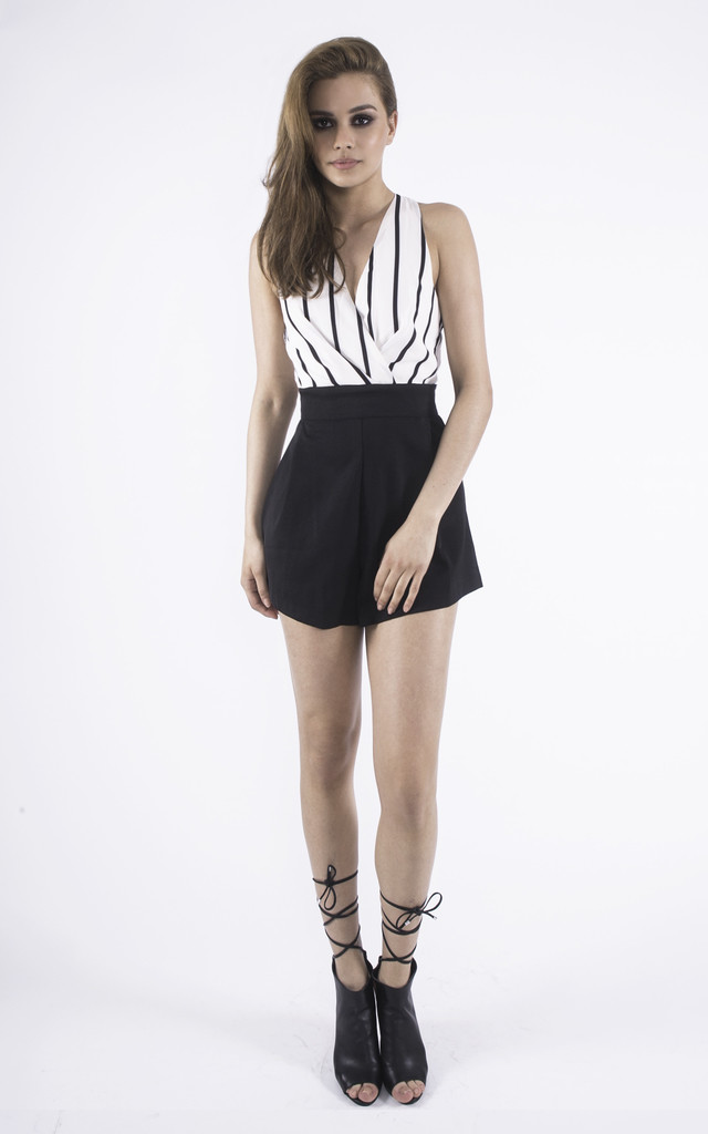 White & Black Monochrome Between the Lines Playsuit by Girl Outlaw