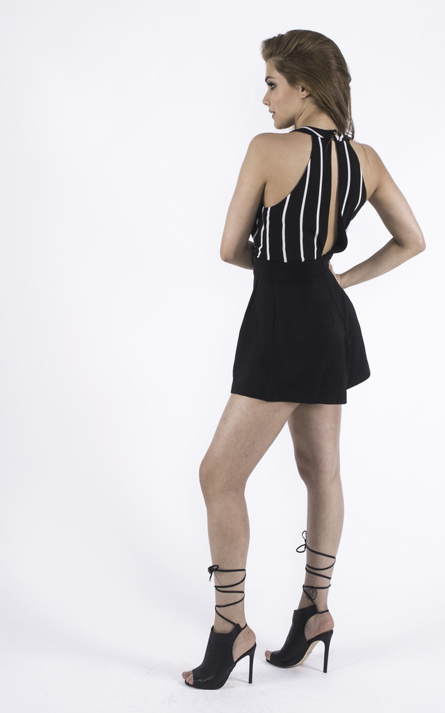 Black & White Monochrome Between the Lines Playsuit by Girl Outlaw
