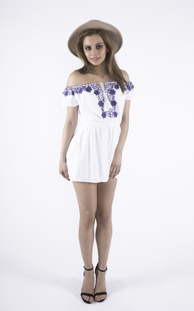Cold Shoulder Blue & White Embroidered playsuit by Girl Outlaw