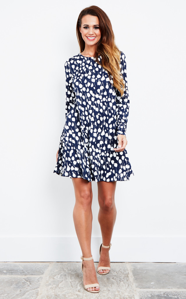 NAVY WHITE FLORAL LONG SLEEVE DRESS by Glamorous