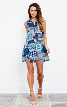 Mixed Blue Border Sleeveless Shirt Dress by Glamorous Product photo