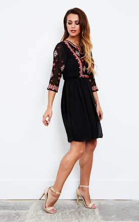 Embroidered black mini dress by Glamorous