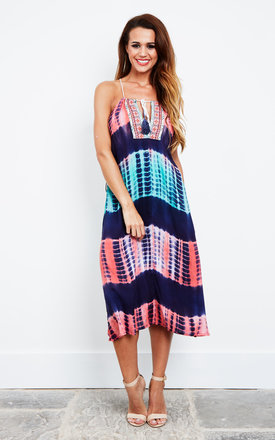 Tie Dye Tassel Midi Dress by Kiss The Sky Product photo