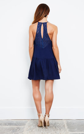 Navy Blue Swing Dress by Kiss The Sky