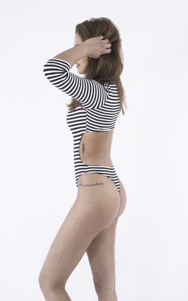 Cross the Line Open back Striped Monochrome Bodysuit by Girl Outlaw