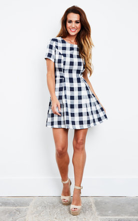 Blue White Check Tea Dress With Cut Out Back by Glamorous Product photo