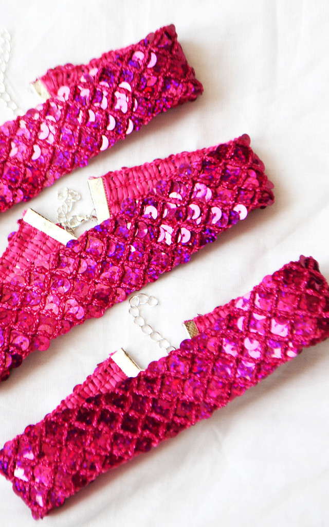 Sequin Scale Thick Pink Choker by Wanderdusk