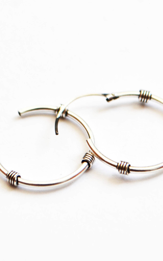 Moondance 18mm Sterling Silver Tibetan Hoop Earrings by Wanderdusk
