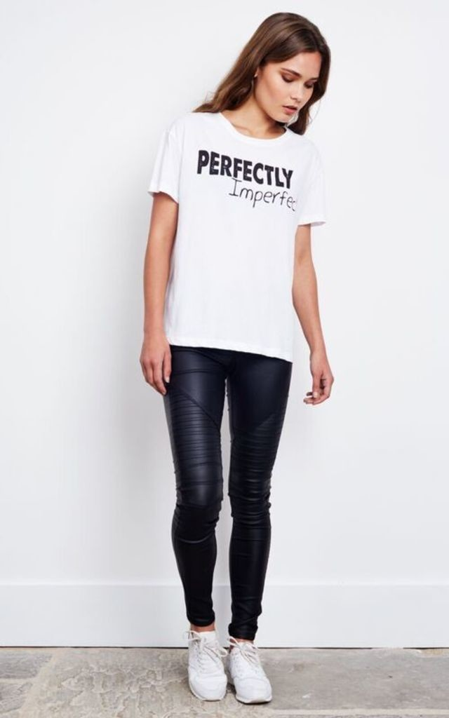 White Perfectly Imperfect Slogan T-Shirt by Noisy May