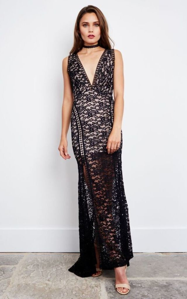 Floor Length Black Lace Open Back Dress by Love Triangle