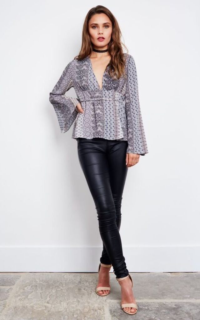 Flared Sleeve Printed Blouse with Back Tie by Lola May