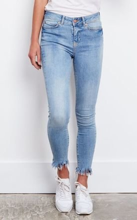 Light Blue Skinny Frayed Bottom Denim Jeans by Noisy May
