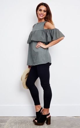 KHAKI FRILL COLD SHOULDER TOP by Bella and Blue