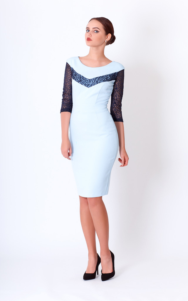 midi pencil dress with 3/4 lace Sleeves and boat neck by JEVA FASHION