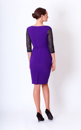 Purple Pencil Dress with 3/4 Lace Sleeves by JEVA FASHION