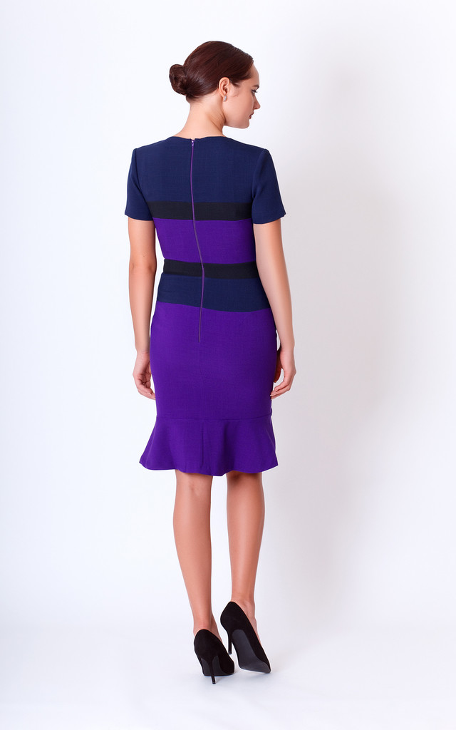 Fitted, Pencil Dress With Short Sleeves and peplum skirt by JEVA FASHION