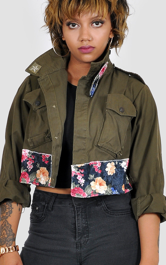 Cropped khaki Military Jacket with floral velvet by The Left Bank