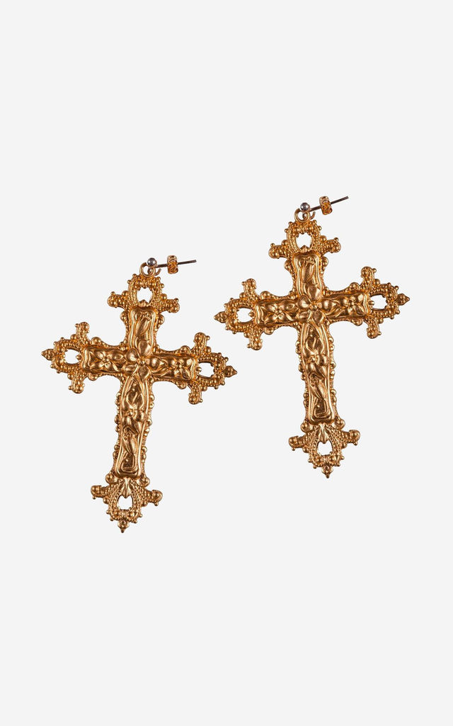GABRIELLE Baroque Cross Earrings by Rock N Rose