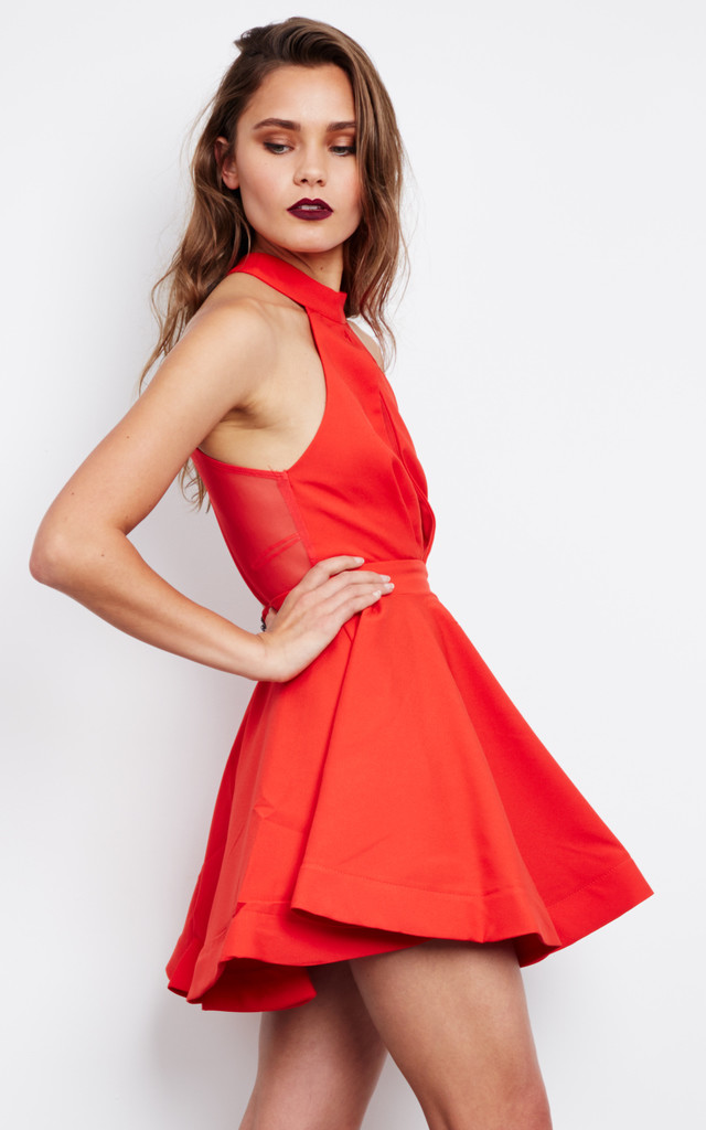 Flared Halter Neck Dress in Red by Ginger Fizz