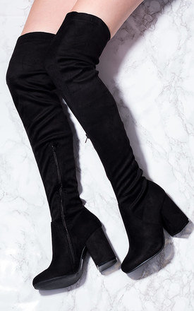 CRISTALES Zip Block Heel Over Knee Tall Boots - Black Suede Style by SpyLoveBuy