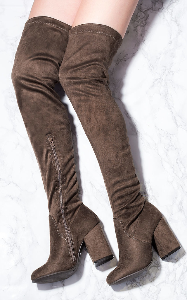 CRISTALES Zip Block Heel Over Knee Tall Boots - Brown Suede Style by SpyLoveBuy