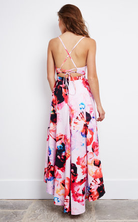 Long Back Maxi Floral Dress in Pink by Ginger Fizz