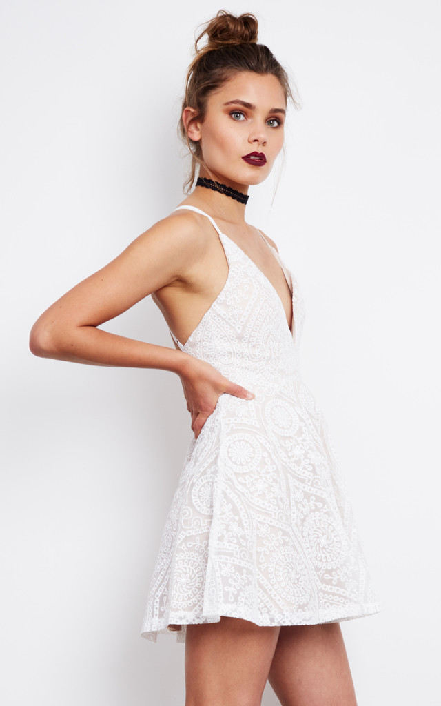 Embroidered Mini Slip Dress in White by Ginger Fizz