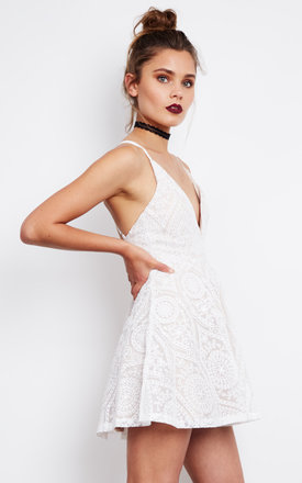 Embroidered Mini Slip Dress In White by Ginger Fizz Product photo