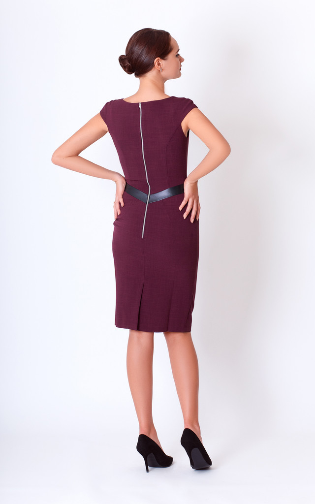 Cap Sleeve Pencil Dress in Maroon by JEVA FASHION