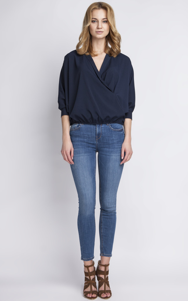 Navy Cross Over Blouse by Lanti