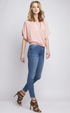 Pink Cross Over Blouse by Lanti
