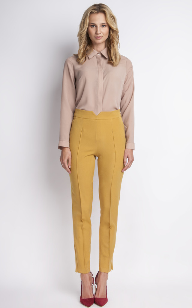 Mustard High Waisted Trousers by Lanti