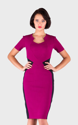 Fitted, Pencil Dress With Short Sleeves by JEVA FASHION