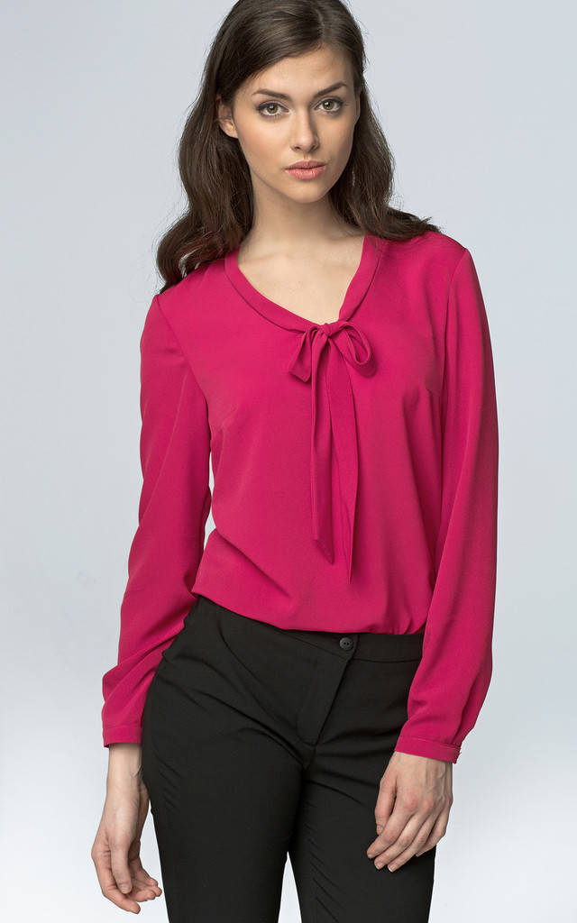 Pussy bow fuchsia blouse by so.Nife