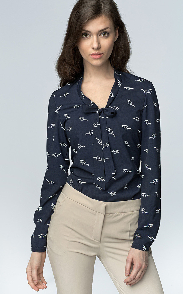 Pussy bow navy pattern blouse by so.Nife