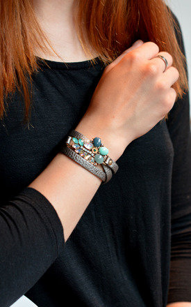 Leather Wrap Around Bracelet by Silver Rain