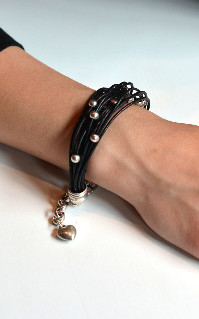 Black Leather Bracelet with Beaded Antique Silver by Silver Rain