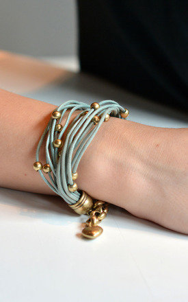 Leather Bracelet Beaded Antique Gold Charm Wrap in Teal by Silver Rain