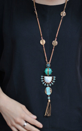 Bohemian Necklace with Stones and Tassel by Silver Rain