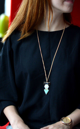 Geometric Shape Necklace with Turquoise Stones by Silver Rain