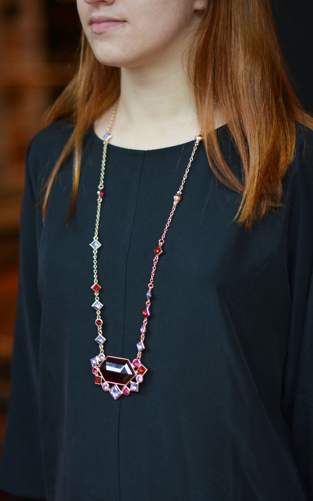 Ruby Stone Ethnic Necklace by Silver Rain