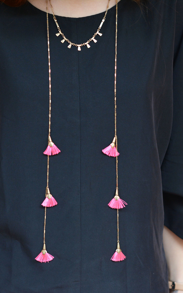 Boho Necklace With Pink Tassels by Silver Rain