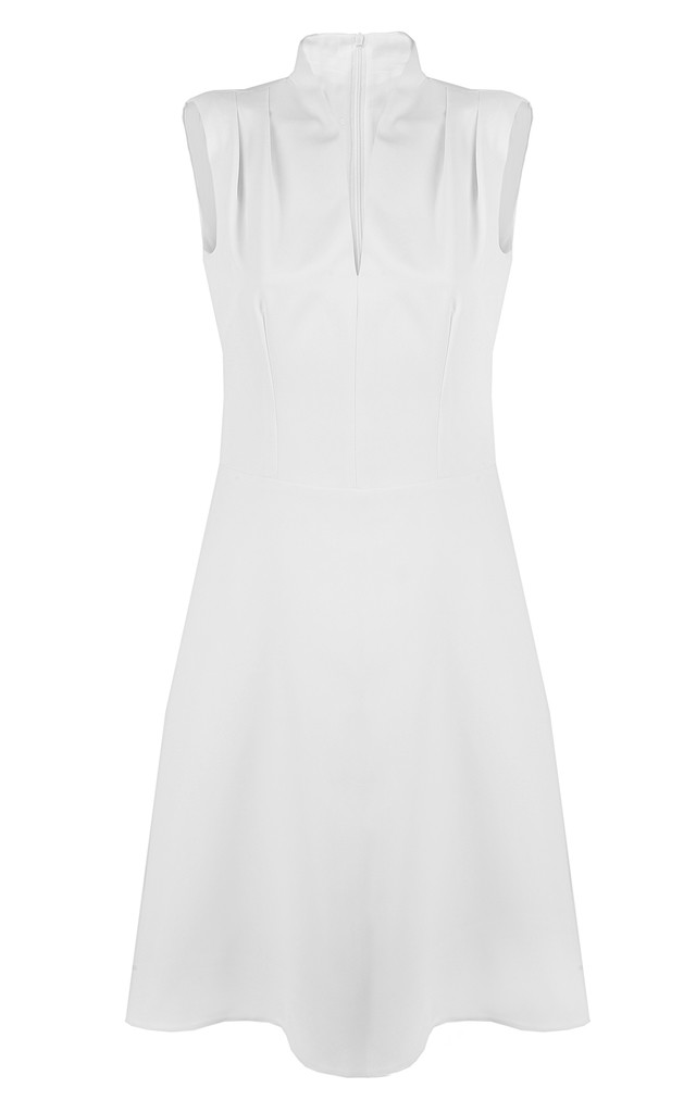 Ecru V neck sleeveless dress by Nife