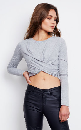 Grey Long Sleeved Cross Front Crop Top by Noisy May