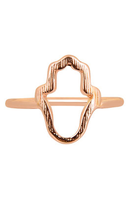 Hamsa Ring In Rose Gold by DOSE of ROSE Product photo