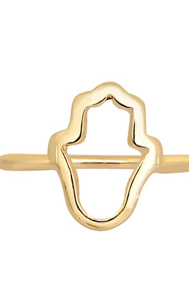 Hamsa Ring In Gold by DOSE of ROSE Product photo