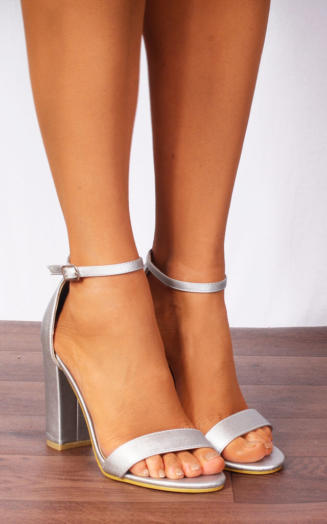 280ad9e39b0 Silver Metallic Barely There Ankle Strap Strappy Sandals High Heels by Shoe  Closet