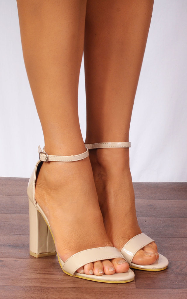 b77306263a371 Nude Patent Barely There Ankle Strap Strappy Sandals High Heels by Shoe  Closet