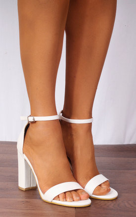 White Barely There Ankle Strap Strappy Sandals High Heels by Shoe Closet