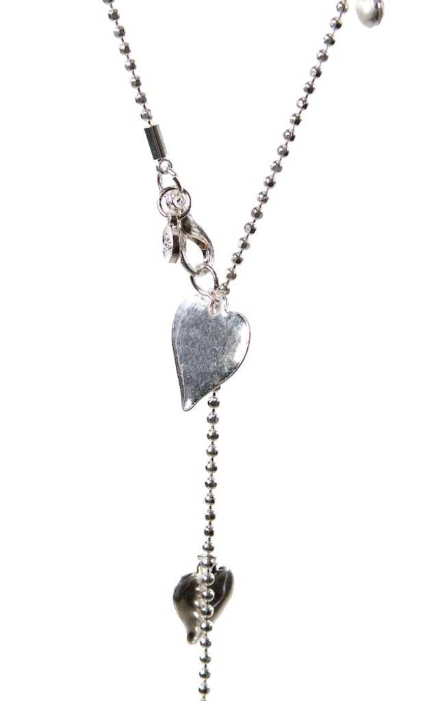 Olia Jewellery Cecile Hearts Long Necklace In Color Silver by Olia Jewellery